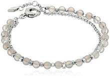 Fossil Silver Semi-Precious Double-Chain Bangle Bracelet