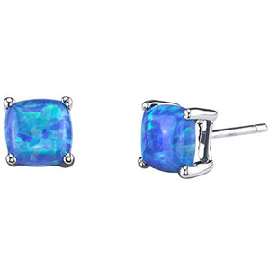 14K White Gold Cushion Cut Created Blue Opal Stud Earrings