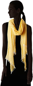 La Fiorentina Women's Italian Collection Frayed Edge Scarf, Yellow, One Size