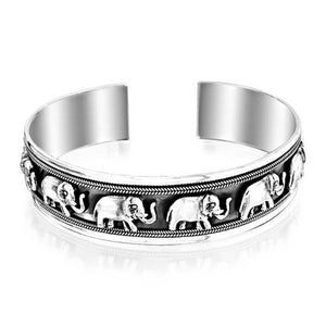 Bling Jewelry Sterling Silver Lucky Elephant Antiqued Open Cuff Bracelet