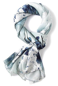 SilverWhite Handpainting, 69 x 21 inches Silk Scarf, Fashion for Women Perfect Christmas Gift Elegant Wrap