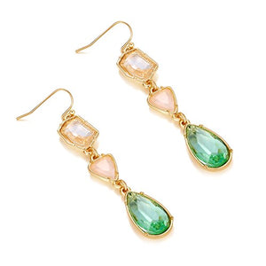 Ellena Rose Green and Coral Color Stone Drop Earrings For Women (Green and Coral)