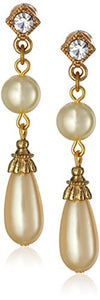 "1928 Jewelry ""Pearl Essentials"" Gold-Tone with Crystal Accent Drop Earrings"