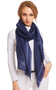 Ellettee, Navy Fashion 96% Cashmere Scarf Classic Premium Shawl Luxurious Elegant Solid Color Wrap Art Oversized Shawl Ultra-Thin Wrap Oblong Stole Perfect Christmas Gift