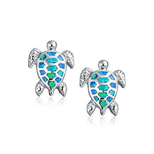 Bling Jewelry Synthetic Blue Opal Sea Turtle Stud Earrings 925 Silver Rhodium Plated