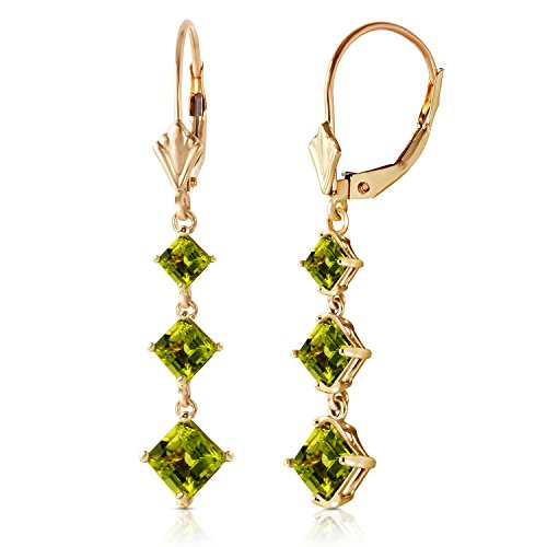 4.79 Carat 14k Solid Gold Chandelier Earrings with Square-shaped Natural Peridots