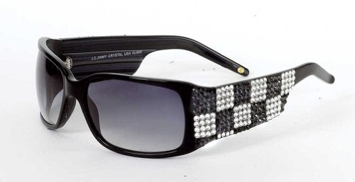 Jimmy Crystal New York Women's Checker Sunglasses Black