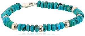 Sterling Silver Stabilized Chinese Turquoise Rondelle Bracelet, 7.5""