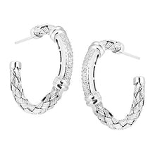 Basket Weave Open Hoop Earrings with Diamonds in Sterling Silver