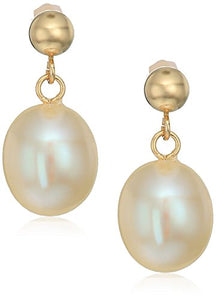 Bella Pearl 14k Yellow Gold Ball with White Freshwater Pearls Drop Earrings