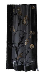 "Silk Base Burn-out Velvet Shawl,71""Lx21""W, Orchid,Gold on Black"