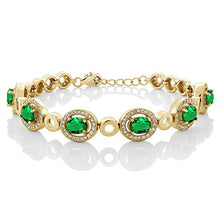 5.52 Ct Oval Green Simulated Emerald 18K Yellow Gold Plated Silver Bracelet