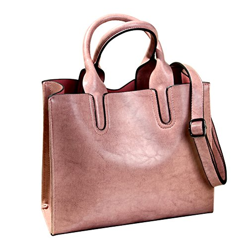 Promini Womens Large Capacity Greased Leather Top Handle Satchel Handbag Fashion Purse Shoulder Bag