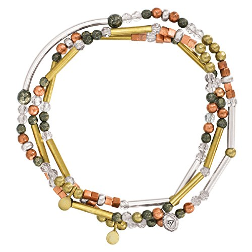 Silpada 'Spice' Sterling Silver, Brass, Copper, Crystal, and Pyrite Multi-Purpose Bracelet, 28.5
