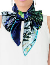 "Dahlia Women's 100% Square Silk Scarf - Claude Monet ""Nympheas"" - Blue"