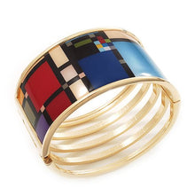 Wide Geometric Pattern Hinge Bangle Bracelet In Gold Finish - 18cm Length