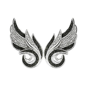 925 Sterling Silver Angel Feather With Black and White Diamond Earring (0.21 Carat)