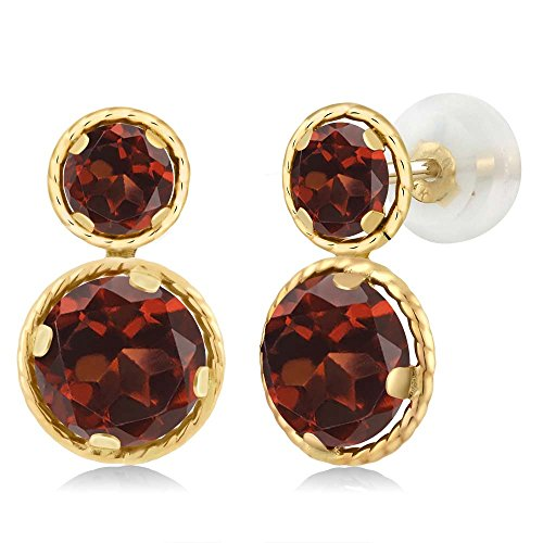 2.74 Ct Round Red Garnet 14K Yellow Gold Earrings