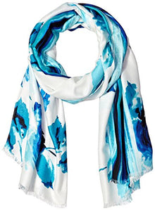 Calvin Klein Women's Watercolor Floral Border Scarf Accessory, -atlantis, one size