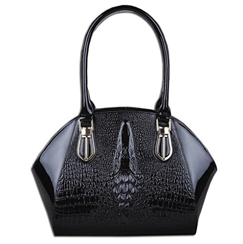 Kaxidy Luxury Womens Ladies Crocodile Grain Leather Office Messenger Handbag Weekend Tote Satchel Handbags Shoulder Bag (Black)