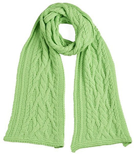 Cable Knit Scarf - 100% Baby Alpaca (Spearmint)