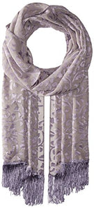 Betsey Johnson Women's Burnout Evening Wrap with Fringe, Grey, One Size