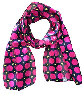 2Chique Boutique Women's Navy & Fuchsia Polka Dot and Heart Satin Stripe Scarf
