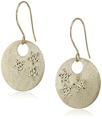 14k Yellow Gold Star Engraved Circle Disc Dangle Earrings