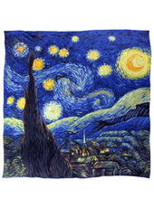 "Dahlia Women's 100% Luxury Square Silk Scarf - Van Gogh ""Starry Night"" - Blue"