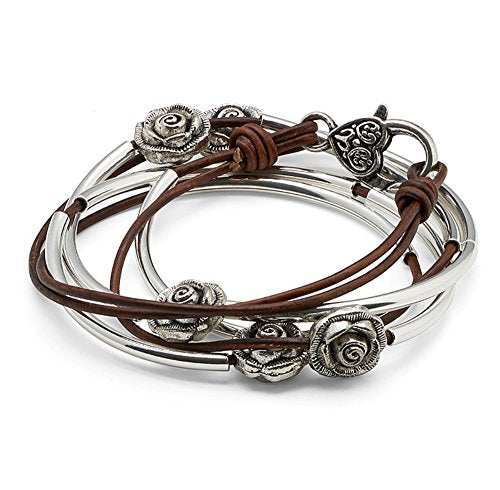 Rosie Silverplated 2 Strand Antique Brown Leather Wrap Bracelet (Small (5 7/8