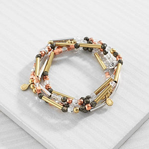 Silpada 'Spice' Sterling Silver, Brass, Copper, Crystal, and Pyrite Multi-Purpose Bracelet, 28.5""
