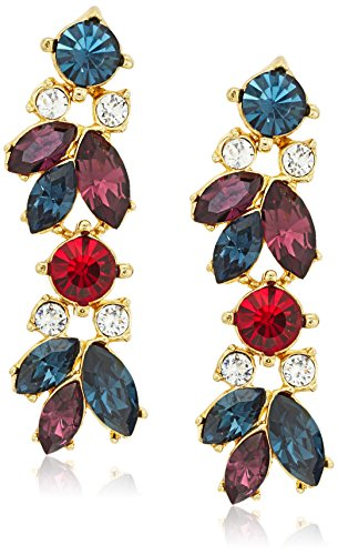 Ben-Amun Jewelry Maharaji Swarovski Crystal Cluster Linear Post Drop Earrings