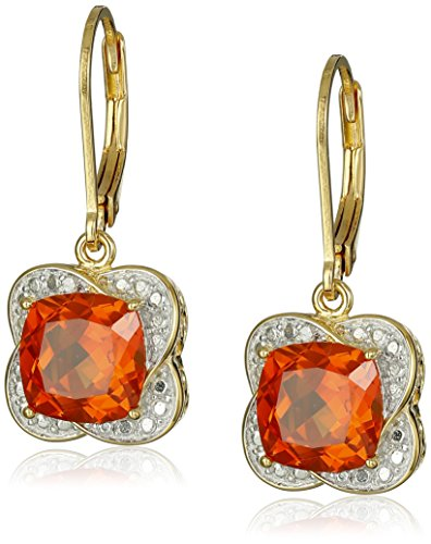 18k Gold-Plated Sterling Silver Two-Tone Cushion Shape Created Orange Sapphire Lever Back Dangle Earrings
