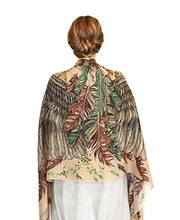 Silk & Cashmere Feather Bird Wings Bohemian Earthly Summer Shawl Scarf