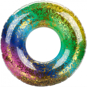 "24"" Glitter Filled Rainbow Swim Ring"