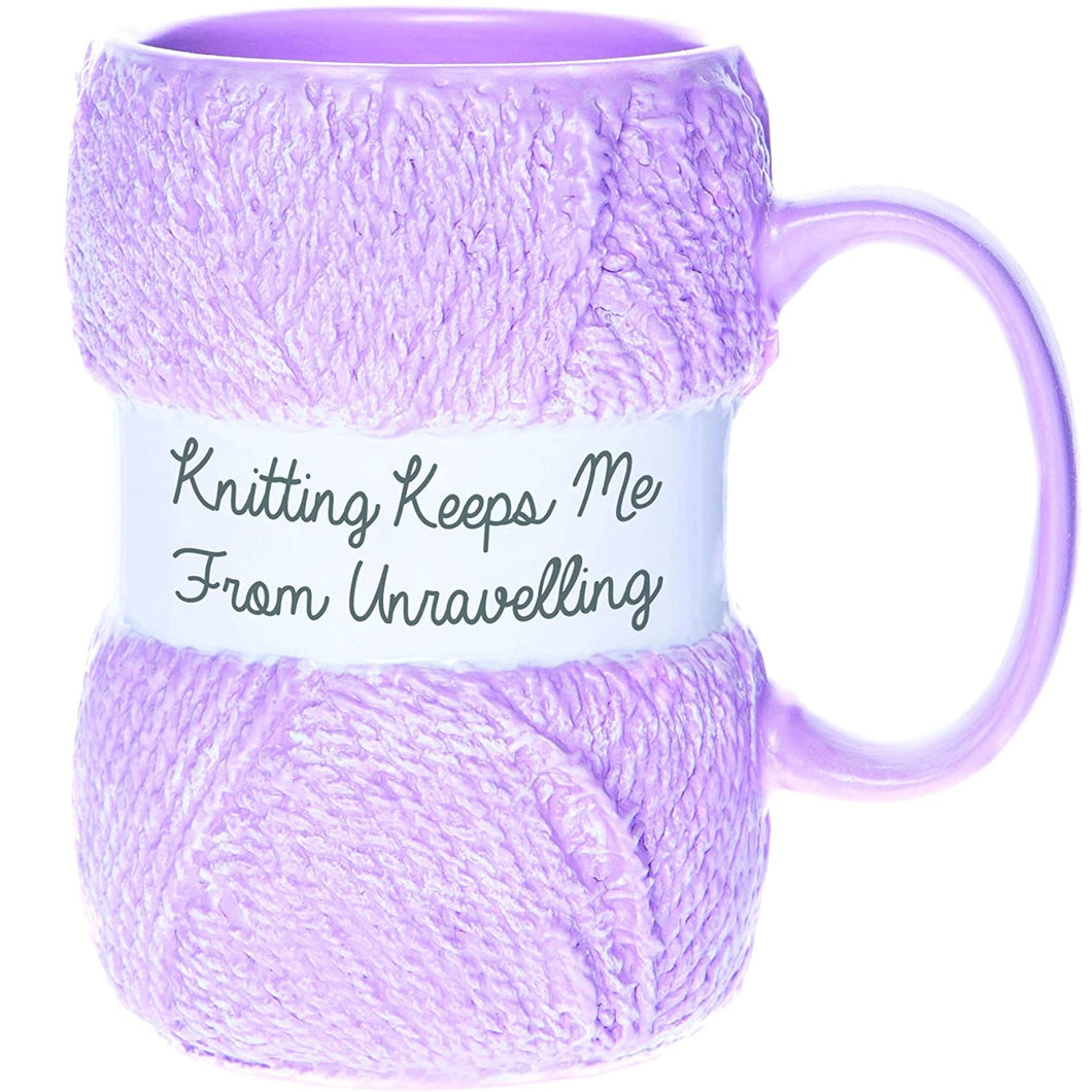 'Knitting Keeps Me From Unravelling' Mug
