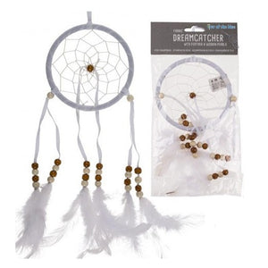 Dreamcatcher With Feathers & Wooden Pearls