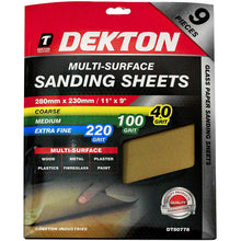 Multi Surface Sanding Sheets 280 x 230 mm Extra Fine,Medium,Coarse