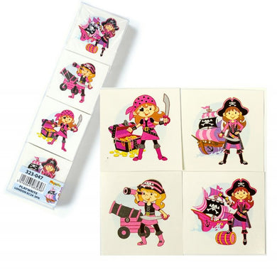 Girls Pink Pirate Temporary Tattoos