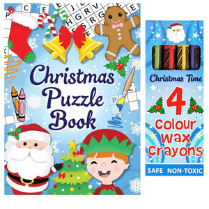 Christmas Puzzle Book & Crayons