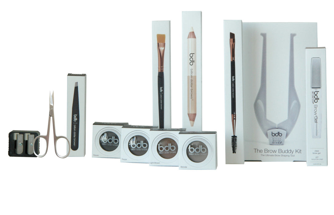 Brow  Business in a Bag Kit:..1 - Buddy Kit..1 - White Pencil..1 - Buddy Instruction..1 - Brow Gel..1 - Universal Brow Pencil..1 - Brow Duo Highlighter..1 - Brow Brush..1 - Smudge Brush..1 - Tweezer..1 - Scissor..1 - Sharpener..1 - Brow Powder Blonde.....