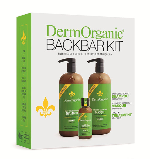 Derm Organic Back Bar Kit:..1-Daily Conditioning Shampoo 32oz..1-Intensive Masque Hair Repair 32oz..1-Leave-In Hair Treatment 4oz....