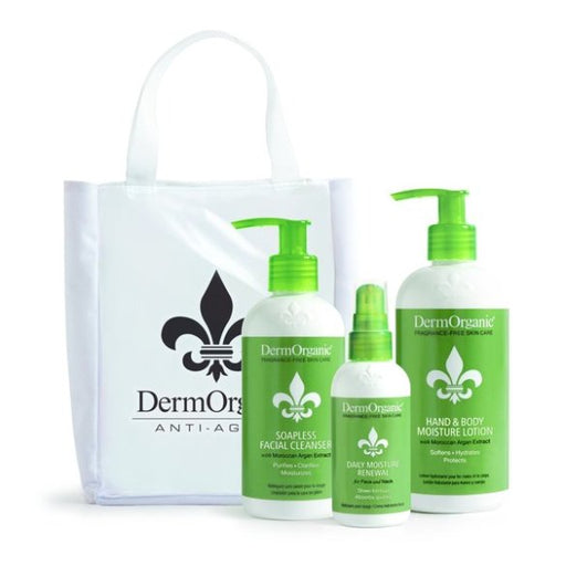 Derm Organic Anti-Aging Skin Care Bag Purse:..1-Soapless Facial Cleanser 8.5oz..1-Facial Cleanser 3.3oz..1-Hand & Body Moisture Lotion 12oz..1-White Zipper Purse Bag w/Logo on Clear Front