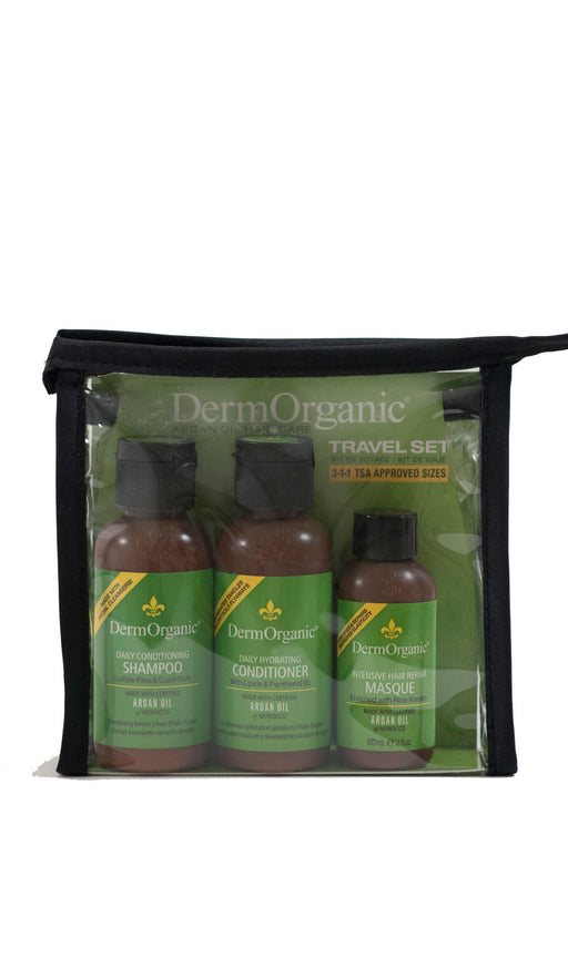 Derm Organic Travel Set:..1 Conditioning Shampoo 3.0oz..1 Conditioner 3.0oz..1 Leave In Argan Oil Treatment 1oz..1 Masque 2oz..