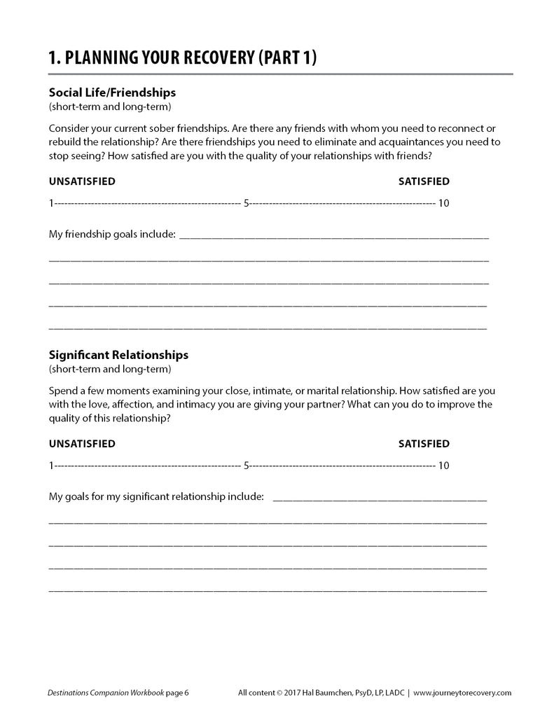 Destinations Companion Workbook (PDF Download) – Journey To Recovery