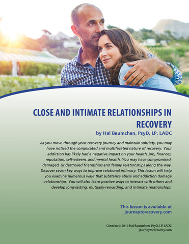 Close and Intimate Relationships in Recovery