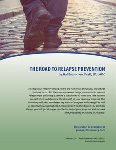 The Road to Relapse Prevention