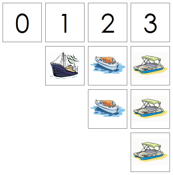 Number Cards & Boat Counters - Montessori Print Shop Math
