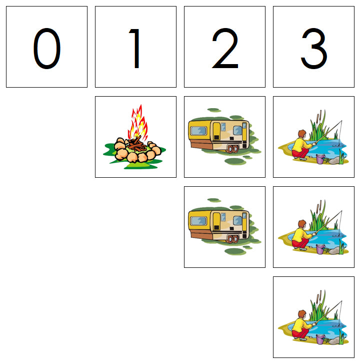 Number Cards & Camping Counters - Montessori Print Shop Math