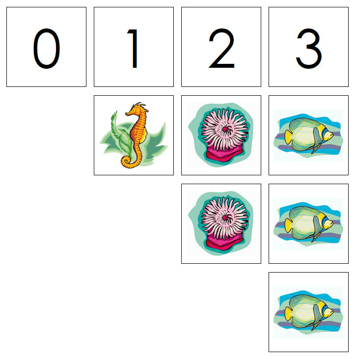 Number Cards & Coral Reef Counters - Montessori Print Shop Math